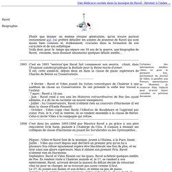 Ravel : Biographie sous forme de chronologie - le-cygne-de-ravel-com