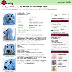 Cuddles the Puppy pattern by Hooked on Fauna