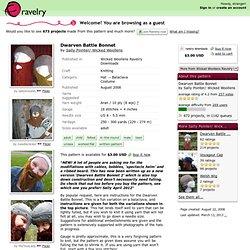 Dwarven Battle Bonnet pattern by Sally Pointer/ Wicked Woollens