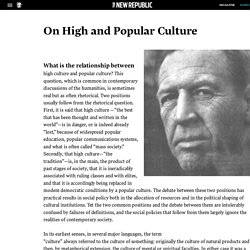 """Raymond Williams's """"On High and Popular Culture"""""""