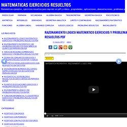RAZONAMIENTO LOGICO MATEMATICO EJERCICIOS Y PROBLEMAS RESUELTOS PDF