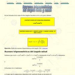 Razones trigonométricas del ángulo doble y del ángulo mitad