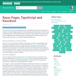 Razor Pages, TypeScript and Knockout