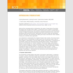 RCCS: Introducing Cyberculture