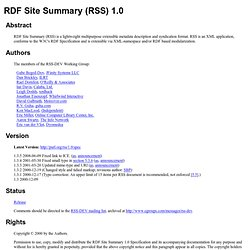 RDF Site Summary (RSS) 1.0
