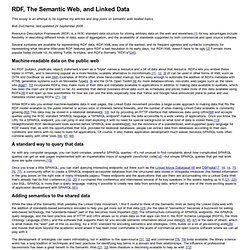 RDF, The Semantic Web, and Linked Data