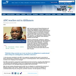 ANC reaches out to Afrikaners:Wednesday 6 June 2012