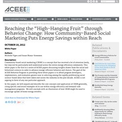 "Reaching the ""High-Hanging Fruit"" with Behavior Change & Social Marketing"
