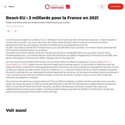 React-EU : 3 milliards pour la France en 2021