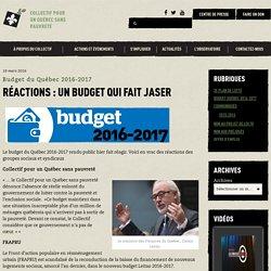 Réactions : un budget qui fait jaser - Collectif pour un québec sans pauvreté