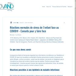 Réactions normales de stress de l'enfant face au COVID19