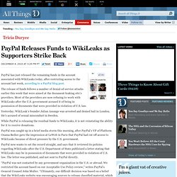 PayPal Releases Funds to WikiLeaks | Tricia Duryee | eMoney | AllThingsD