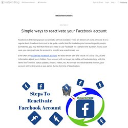 Simple ways to reactivate your Facebook account - fbtollfreenumbers