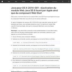 Java pour OSX 2014-001: réactivation du module Web Java SE 6 fourni par Apple ainsi que du composant WebStart