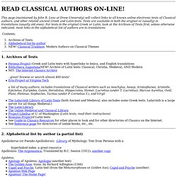 READ CLASSICAL AUTHORS ONLINE