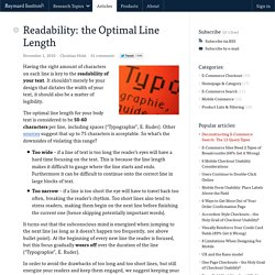 Readability: the Optimal Line Length