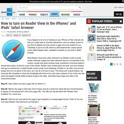 How to turn on Reader View in the iPhones' and iPads' Safari browser