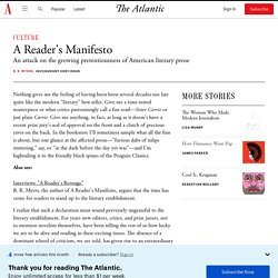 A Reader's Manifesto - The Atlantic