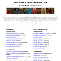 Readers Advisory Bookmarks and Book Lists