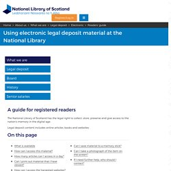 Readers' guide to electronic legal deposit