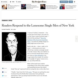 Readers Respond to the Lonesome Single Men of New York