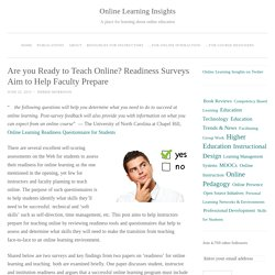 Are you Ready to Teach Online? Readiness Surveys Aim to Help Faculty Prepare