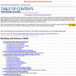 School-Home Links Reading Kit: Third Grade Activities Table of Contents