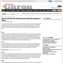 How to Get the Job of Reading for Audio Recordings of Books