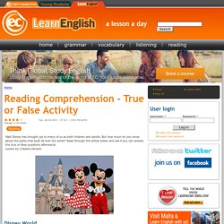 Reading Comprehension - True or False Activity