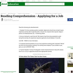 Reading Comprehension Quiz: Applying for a Job