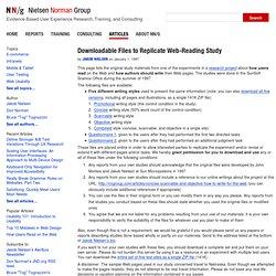 Web-Reading Study: Downloadable Files to Replicate Study