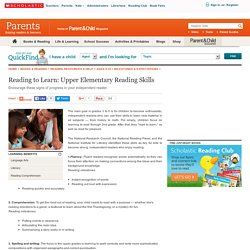 Reading to Learn: Upper Elementary Reading Skills