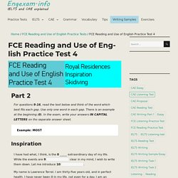 FCE Reading and Use of English Practice Test 4