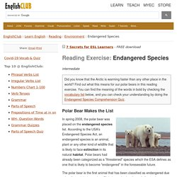 Reading Exercise - Endangered Species