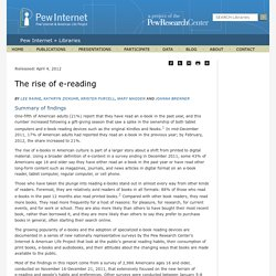 The rise of e-reading | Pew Internet Libraries