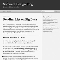 Reading List on Big Data