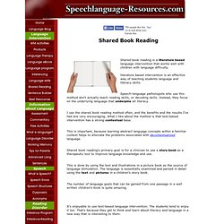 shared book reading and speech-language pathology