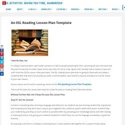 An ESL Reading lesson plan template