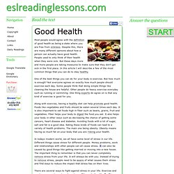 ESL Reading Lessons: Good Health