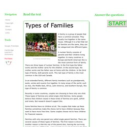 ESL Reading Lessons: Types of Families