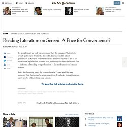 Reading Literature on Screen: A Price for Convenience?