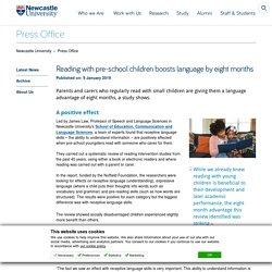 Parent child reading report - Press Office - Newcastle University