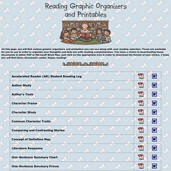 Reading Graphic Organizers and Printables