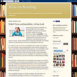 PARCC Tests and Readability: A Close Look