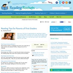 Reading Tips for Parents of First Graders
