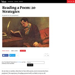 Reading a Poem: 20 Strategies