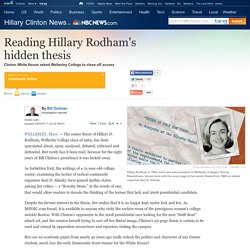 Reading Hillary Clinton's hidden thesis - politics - Decision '08 - Hillary Clinton News