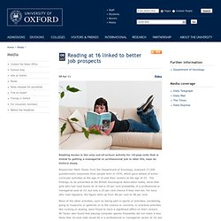 Reading at 16 linked to better job prospects
