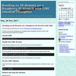 Reading an IR Remote on a Raspberry Pi <i>Stretch</i> with LIRC