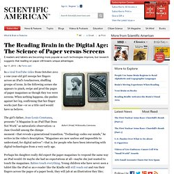The Reading Brain in the Digital Age: The Science of Paper versus Screens